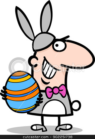 man in easter bunny costume cartoon stock vector clipart, Cartoon Illustration of Funny Man in Easter Bunny Costume with Easter Egg in his Hands by Igor Zakowski