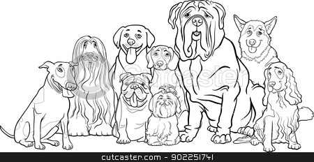 purebred dogs group cartoon for coloring stock vector clipart, Black and White Cartoon Illustration of Funny Purebred Dogs or Puppies Group for Coloring Book by Igor Zakowski