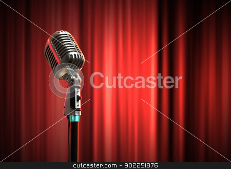 audio microphone retro style stock photo, Single retro microphone against red curtains closed on the background by Sergey Nivens