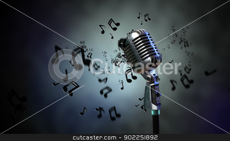 Audio microphone retro style stock photo, Single retro microphone against dark background with music notes by Sergey Nivens
