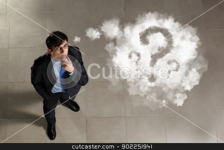 Image of businessman top view stock photo, Top view of young businessman making decision by Sergey Nivens