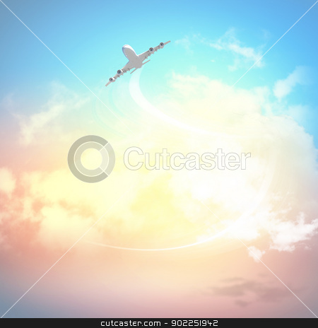 Image of airplane in sky stock photo, Image of flying airplane in sky with clouds at background by Sergey Nivens