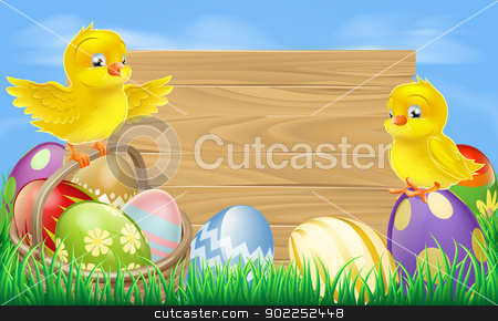 Easter eggs sign stock vector clipart, A blank wooden Easter egg sign with Easter eggs in a wooden hamper, chicks and copyspace by Christos Georghiou