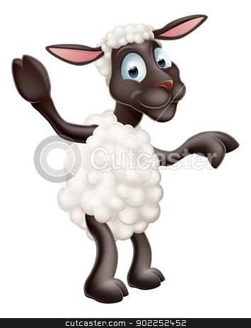 Sheep waving and pointing stock vector clipart, Illustration of a cute sheep or lamb cartoon character or mascot pointing by Christos Georghiou