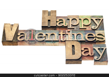 Happy Valentines Day stock photo, Happy Valentines Day - isolated text in vintage letterpress wood type printing blocks by Marek Uliasz