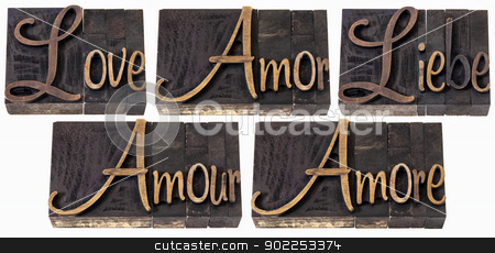 love word in 5 languages stock photo, love word in 5 languages (English, Spanish, German, French and Italian) - a collage of isolated text in vintage letterpress wood type printing blocks, script font by Marek Uliasz