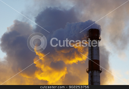 Power plant  stock photo, Power plant with smoke under sky by Vitaliy Pakhnyushchyy