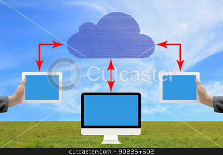 Cloud computing concept stock photo, Cloud computing concept on blue sky background by Vichaya Kiatying-Angsulee