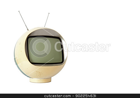 Vintage Yellow TV stock photo, Vintage Yellow TV isolated on white background with clipping path by Vichaya Kiatying-Angsulee