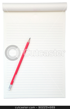 yellow paper for reading with pencil isolated on white stock photo, yellow paper for reading with pencil isolated on white by Vichaya Kiatying-Angsulee