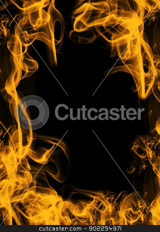 fire stock photo, scope from fiery flame on black by Vitaliy Pakhnyushchyy