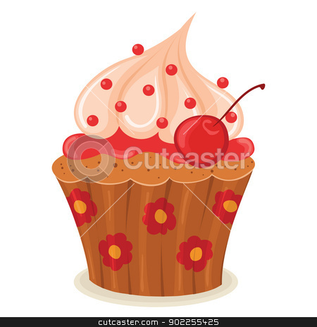 Cupcake stock vector clipart, Cupcake with a cherry isolated illustration. by wingedcats