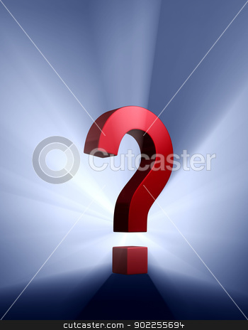 Bold Question stock photo, A red question mark on a dark blue background brilliantly backlight with light rays shining through. by Mark Carrel