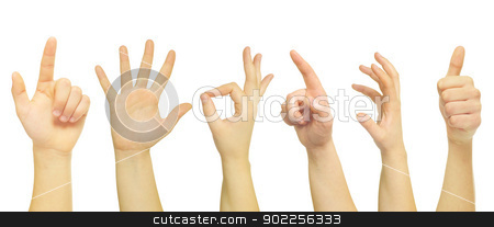 hands  stock photo, hands isolated on a white  by Vitaliy Pakhnyushchyy