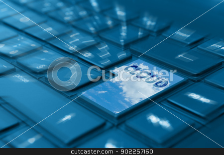 Cloud Computing stock photo, Cloud Computing Concept - Detail of Key With Cloud Symbol on Keyboard by JAMDesign