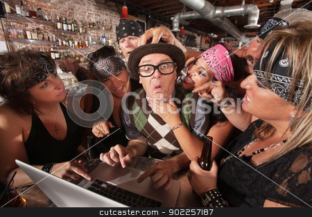 Biker Ladies Teasing Nerd stock photo, Pretty biker gang women adoring nervous male nerd in bar by Scott Griessel