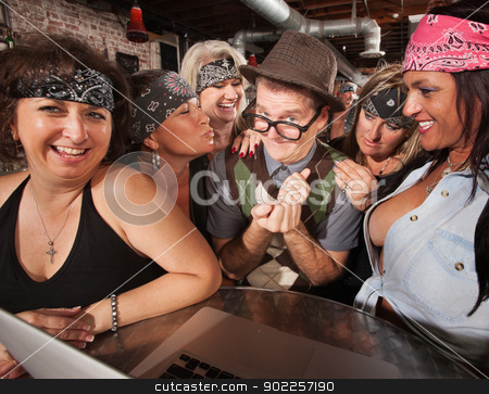 Sexy Biker Ladies with Smiling Nerd stock photo, Sexy middle aged biker ladies flirting with nerd on laptop by Scott Griessel