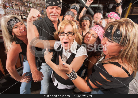 Nerd Showing Off Muscles in Bar stock photo, Amazed motorcycle gang looking at nerd showing off muscles by Scott Griessel