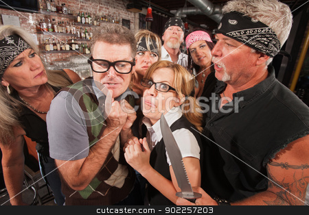 Scared Nerd Couple in Biker Bar stock photo, Scared geek couple in bar surrounded by tough gang by Scott Griessel