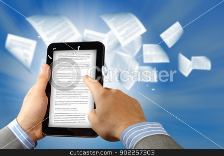 e book reader and books stock photo, the library in the e-book concept with text pages flying out of a e-reader by Sergey Nivens