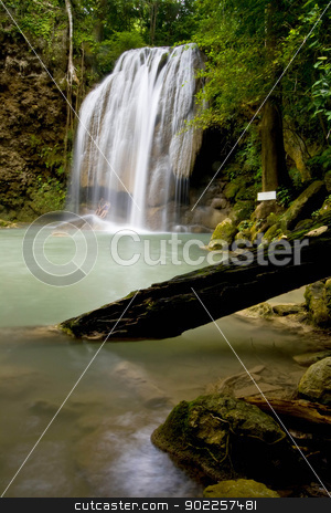 Tropical Waterfall stock photo, Lover at Erawan Waterfall, Thailand by Vichaya Kiatying-Angsulee
