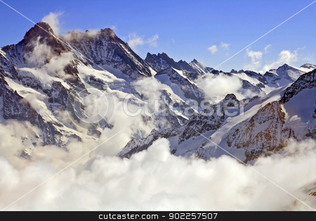 Jungfraujoch Swiss alps stock photo, Mist at Jungfraujoch, part of Swiss Alps at Switzerland. Great Aletsch Glacier is one of the World Heritage by UNSECO by Vichaya Kiatying-Angsulee
