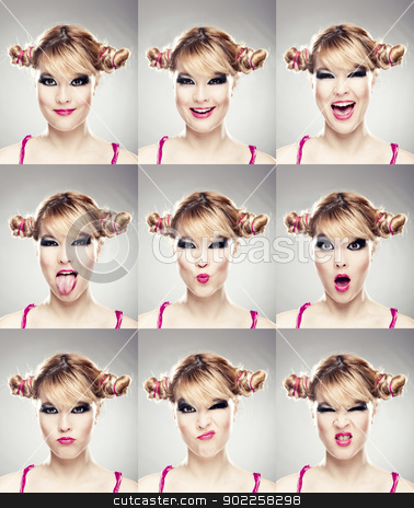 Multiple faces expressions stock photo, Multiple close-up portraits of the same woman expressing different emotions and expressions by ikostudio