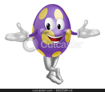 Easter Egg Character stock vector clipart, An illustration of a happy fun cartoon Easter egg mascot character  by Christos Georghiou