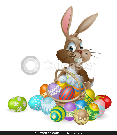 Easter bunny rabbit with Easter eggs basket stock vector clipart, Easter bunny rabbit with Easter basket full of decorated Easter eggs by Christos Georghiou
