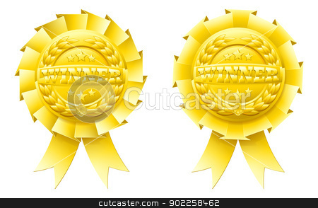 Gold winner rosettes stock vector clipart, Gold winner rosettes with the word winner in the centre and winners laurel wreath and stars by Christos Georghiou