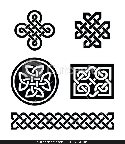 Celtic knots patterns - vector stock vector clipart, Set od traditional Celtic symbols, knots, braids in black and white  by Agnieszka Bernacka