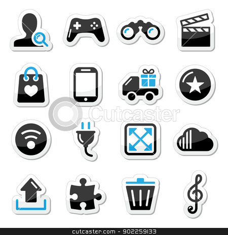 Web internet icons set - vector stock vector clipart, Modern application website black and blue labels  by Agnieszka Murphy