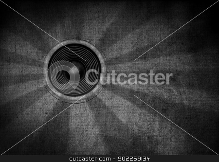 Black and white grunge starburst speaker stock photo, Monotone grunge starburst speaker by steve ball
