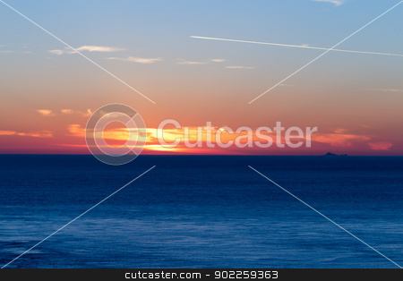 Sunset over the ocean stock photo, Sunset over the ocean by Click Images