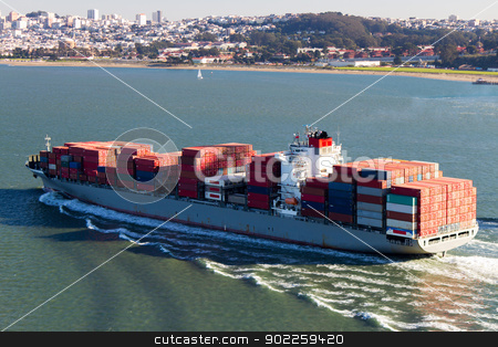 Container Ship in the San Francisco Bay stock photo, Container Ship in the San Francisco Bay by Click Images