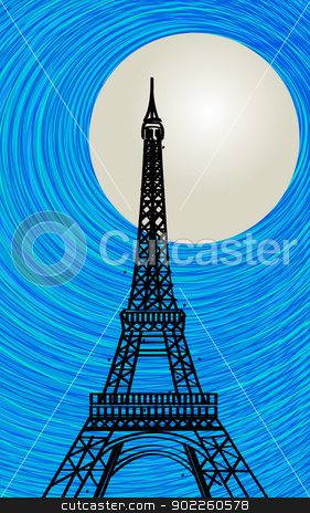 Paris card stock vector clipart, Romantic background with stylized Eiffel tower silhouette in the moonlight by Richard Laschon