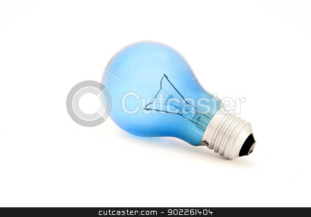 isolated blue light bulb for reading stock photo, isolated blue light bulb for reading by Vichaya Kiatying-Angsulee