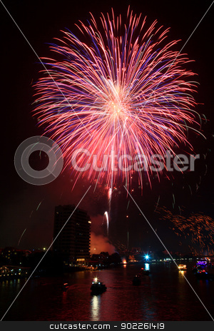 Fireworks stock photo, big pink firework over Chaophraya river Bangkok on Father's day,Bangkok Thailand by Vichaya Kiatying-Angsulee