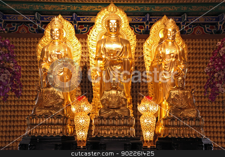 Chinese style golden buddha stock photo, Chinese style golden buddha in dragon temple in Thailand by Vichaya Kiatying-Angsulee