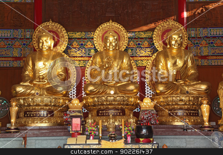 Thai China Buddha Image stock photo, Thai China Buddha Image statue in dragon monastery temple wat in Bangkok Thailand by Vichaya Kiatying-Angsulee