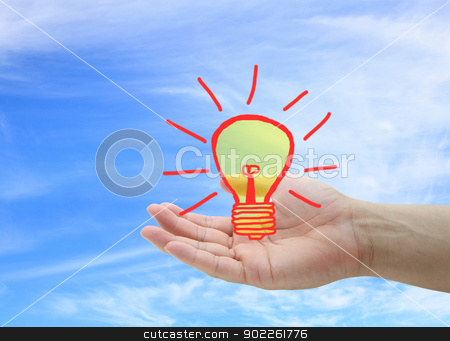 New Idea Concept stock photo, Light bulb on hand for New Idea Concept by Vichaya Kiatying-Angsulee