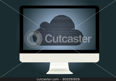 cloud computing Concept stock photo, Computer Monitor with cloud computing Concept by Vichaya Kiatying-Angsulee