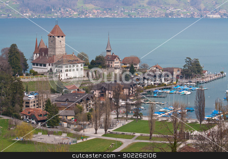 Spiez Church with Lake of Thun Switzerland top view stock photo, Spiez Church with Lake of Thun Switzerland top view by Vichaya Kiatying-Angsulee