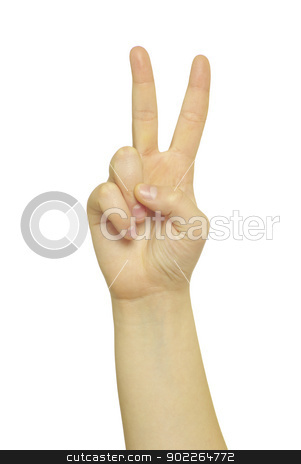 hand gestures  stock photo, hand gestures isolated on a white by Vitaliy Pakhnyushchyy