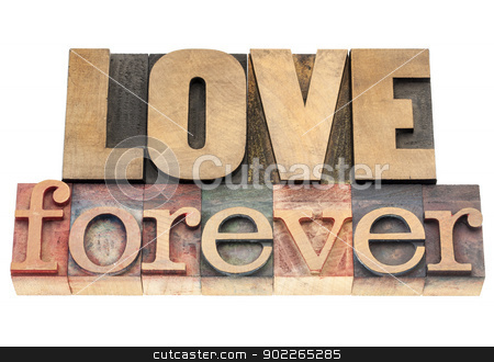 love forever in wood type stock photo, love forever  - isolated text in vintage letterpress wood type printing blocks by Marek Uliasz