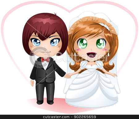 Bride And Groom Getting Married 2 stock vector clipart, A vector illustration of a bride and groom dressed for their wedding day. by Liron Peer