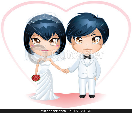 Bride And Groom Getting Married 3 stock vector clipart, A vector illustration of a bride and groom dressed for their wedding day. by Liron Peer