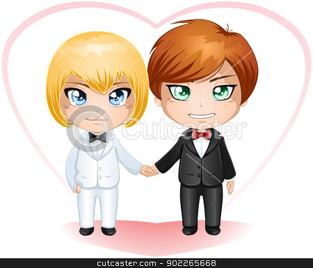 Gay Grooms Getting Married 2 stock vector clipart, A vector illustration of gay men dressed in suits for their wedding day. by Liron Peer