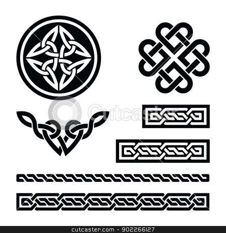 Celtic knots, braids and patterns - vector stock vector clipart, Set od traditional Celtic symbols in black by Agnieszka Bernacka