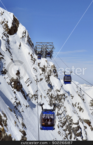 Gondola cable car in Alps stock photo, Gondola cable car to Hintertux Glacier in Zillertal Alps in Austria by Krzysztof Nahlik